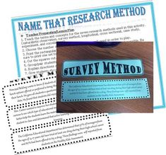 Psychology Name that Research Method Activity can be done in groups or pairs for reviewing the types of research. includes:-Lesson Plan and Student Directions-7 types of research categories-3 examples for each category-example-answer key