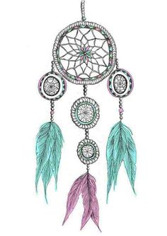 Pink and teal dream catcher