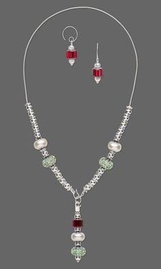 Single-Strand Necklace and Earring Set with SWAROVSKI ELEMENTS and Silver-Plated Brass Beads