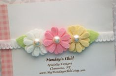 Daisy Baby Headband Daisy Headband Felt Flower by MyMondaysChild