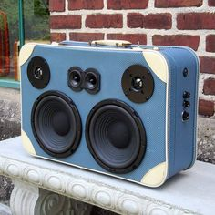 Boombox made from a vintage Stylite suitcase - rechargeable battery, 2-channel, 3-way configuration with a 40-watt amp and built in bluetooth.…