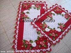 Resultado de imagem para tapete de croche com grafico de flor