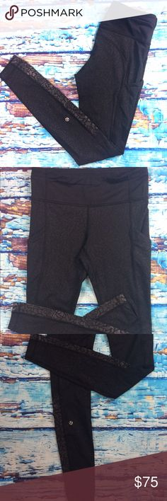 "Lululemon Speed Tight II Graphic Embossed Black Gorgeous tights! Minimal wear. 31"" inseam. lululemon athletica Pants Leggings"