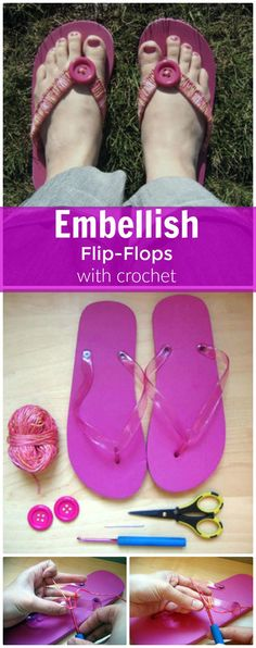Embellish Flip-Flops With Crochet - 22 Crochet Slippers / Boot / Shoes / Flip Flops - Free Patterns - Page 3 of 4 - DIY & Crafts