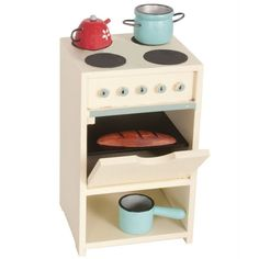 This adorable Wooden Stove with Utensils from Maileg is a gorgeous role play addition to your Maileg collection. The stove comes with a sauce pan, a kettle, a pot and bread. Maileg Bunny, Mini Stove, Kids Boutique, Herd, Wooden Kitchen, Doll Furniture, Dollhouse Furniture, Pallet Furniture, Kitchen Cart