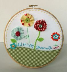 Fun with fabric, hand stitches and embroidery hoops!