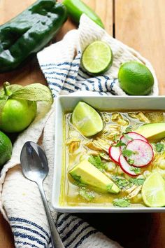 A Traditional Chicken Pozole Verde (Pozole Recipe or Posole) made with comforting hominy, spicy peppers, flavorful chicken and so much love. #pozole #posole #soup #stew #chicken #mexican Fall Recipes, New Recipes, Soup Recipes, Favorite Recipes, Healthy Recipes, Yummy Recipes, Dinner Recipes, Mexican Food Recipes, Real Food Recipes