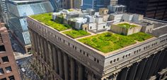 An aerial image of the rooftop garden at Chicago's City Hall