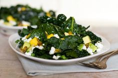Mango, Avocado, and Feta Kale Salad © aidamollenkamp.com #alkalinediet #healthy