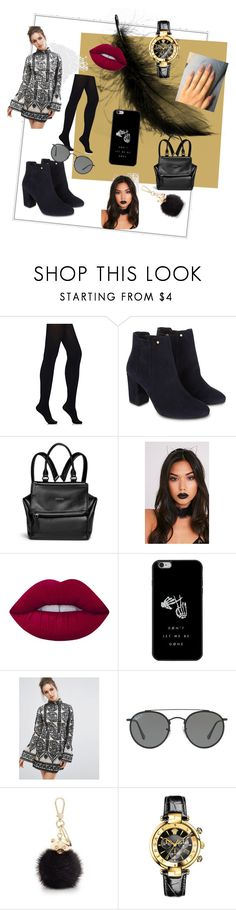 """""""Cute"""" by dominiquebambi ❤ liked on Polyvore featuring Wolford, Monsoon, Givenchy, Lime Crime, Missguided, Ray-Ban, Furla and Versace"""