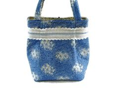 Small Blue and Cream Floral Repurposed by SuzqDunaginDesigns, $30.00