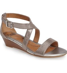 Main Image - Söfft 'Innis' Low Wedge Sandal (Women) Silver Shoes Low Heel, Low Heel Shoes, Low Heels, Low Wedge Sandals, Low Wedges, Shoes Sandals, Stylish Sandals, Comfortable Sandals, Bridal Shoes