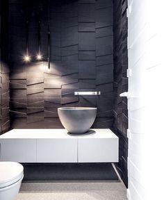 Penthouse Located in Tel Aviv - dark & white monochromatic bathroom