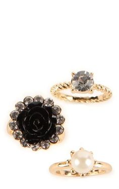 Deb Shops Set of 3 Stackable Rings with Twisted Bands and Flower $7.50