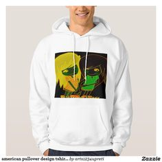 american pullover design tshirt with cartoon style