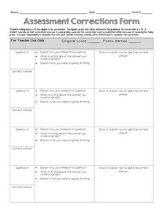 Free Downloadable Test Correction Form - Great to keep all those ...