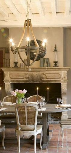 dining, fireplace, chandelier, French Country