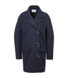 Tibi: Navy Felted Wool Oversized Coat