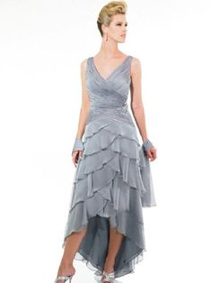 v neck sleeveless a line gray chiffon multilayered pleated beading high low mother
