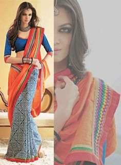 Blue Cotton and Art Silk Half and Half Saree with Resham Embroidery. Really beautiful.