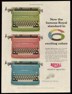 1955 Royal standard typewriter green pink blue models photo vintage print ad | eBay