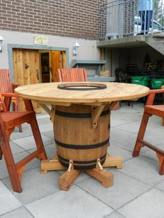 Outdoor Wine Barrel Table Wonderful Furniture Ideas At Home Design Concept Interior 13 Wine Barrel Furniture, Fire Pit Furniture, Diy Furniture, Automotive Furniture, Automotive Decor, Handmade Furniture, Rustic Furniture, Furniture Design, Whiskey Barrel Table