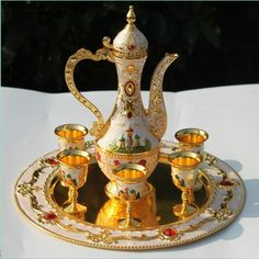 Rare Hand painted ancient Coffee,Tea and Wine set Castle pattern game of thrones Tea Pot Set, Pot Sets, Cup And Saucer Set, Tea Cup Saucer, Tea Cups, Coffee Set, White Coffee, Coffee Time, Turkish Tea