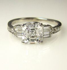 GIA Art Deco 2.53ct Antique Vintage Asscher Cut Diamond Ring in PLATINUM, Circa1920