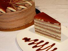 Dobos Torte Per Slice (Dobos Torta) Hungarian Desserts, Hungarian Cake, Hungarian Cuisine, Hungarian Recipes, Hungarian Food, Dobos Torte Recipe, Torte Cake, My Favorite Food, Favorite Recipes