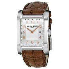 Baume-Mercier-Brown-Leather-Strap-Silver-Dial-Womens-Watch-10018-0