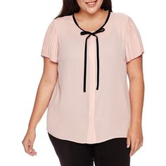 Worthington Short-Sleeve Tie-Neck Blouse with Pleated Sleeve ($24) ❤ liked on Polyvore featuring tops, blouses, plus size, women's plus size tops, plus size womens blouses, pink plus size tops, pink blouse and neck-tie