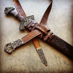 Viking sword and scabbard, with Borre belt, by Christian Fletcher.