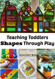 Teaching Toddlers Shapes Through Play- loaded with several activities and helpful information to teach toddlers