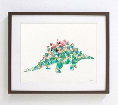 Dinosaur - Watercolor Art Print - Green Stegosaurus Dinosaur - Geometric Art - Silhouette Art - 8x10 Print - Children's Wall Art, Wall Decor on Etsy, $32.83 AUD
