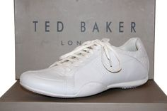 Ted Baker Mens White Logo Camfortable Sneakers Shoes Size US 13 NEW #TedBaker #AthleticSneakers