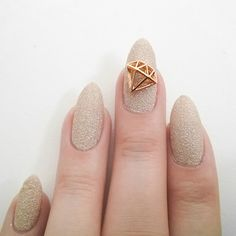 Nail Art Decoration - Diamond / Large / Gold
