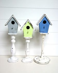 "It seems I've got a thing for pedestals, lately. My newest fascination are pedestal birdhouses. So pretty and they just scream, ""SP. Try These 6 Awesome DIY Spring Decorations Jeanie Matkin Easter It seems I've got a thing for pedesta Crafts To Make, Diy Crafts, Bird Houses Diy, Decorative Bird Houses, Bird House Kits, Bird Aviary, Craft Shop, Kit Homes, Candlesticks"