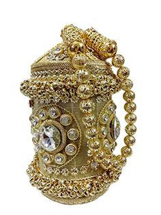 bb762e996f Golden Royal ball Round Handmade metal Handbag purse Hand clutch with fully  beaded Crystal