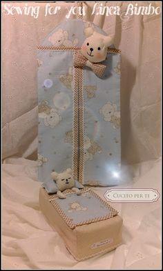 CUCITO per TE : Porta pannolini e copri veline con orsetti. Sewing Tutorials, Diy, Layette, Baskets, Toss Pillows, Manualidades, Fabrics, Bricolage, Diys
