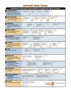 adventX Daily Dozen chart from John Colver Healthy Exercise, Core Muscles, Abdominal Muscles, Get In Shape, Getting Out, Outdoor Activities, Workouts, Exercises, The Great Outdoors