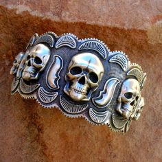 Solid Sterling Silver Overlayed skull cuff from #SantaFeSilverworks by Gregory Segura on Etsy