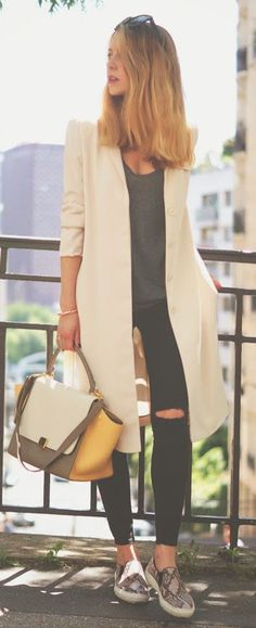 how to dress down a long cream coat