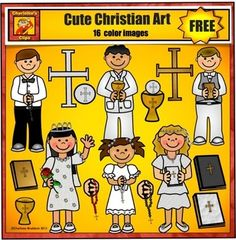 Free Christian Children - First Communion Clip Art - Charl
