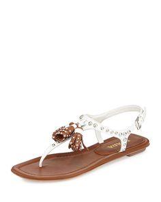 X2FL4 Prada Leather Studded Tassel Sandal, Bianco