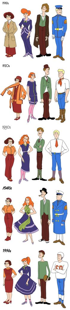 Scooby Doo Fan Art of the gang through the decades!