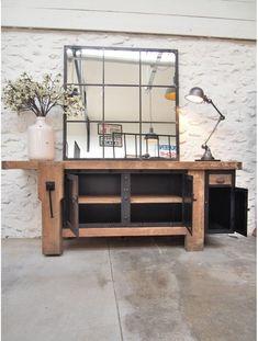 Concrete Furniture, Rustic Furniture, Modern Furniture, Furniture Design, Home Decor Mirrors, Entryway Decor, Cafe Wall, Furniture Arrangement, Wooden Walls