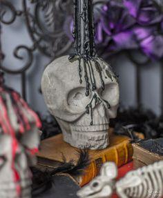 Turn Plastic Skulls into Creepy Concrete Candle Holders