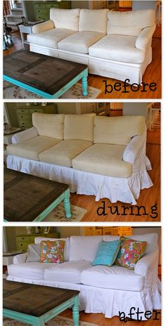DIY Slipcovers + I love the coffee table . I love how they did the slipcovers in sections and not one huge piece! Furniture Projects, Furniture Makeover, Home Projects, Diy Furniture, Furniture Covers, Ideias Diy, White Sofas, Couch Covers, Diy Home Decor
