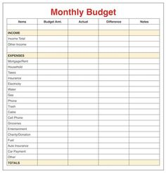 monthly budget template Monthly Budget Template for Young Adults, College Student .