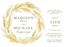 Pampas Grass Border - Engagement Party Invitation #invitations #printable #diy #template #Engagement #party #wedding Free Wedding Invitations, Anniversary Invitations, Engagement Party Invitations, Pampas Grass, Celebrity Weddings, Our Wedding, Wedding Congratulations Card, Response Cards, Free Printables